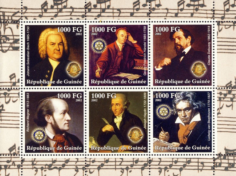 Composers 6v (2) - Issue of Guinée postage stamps