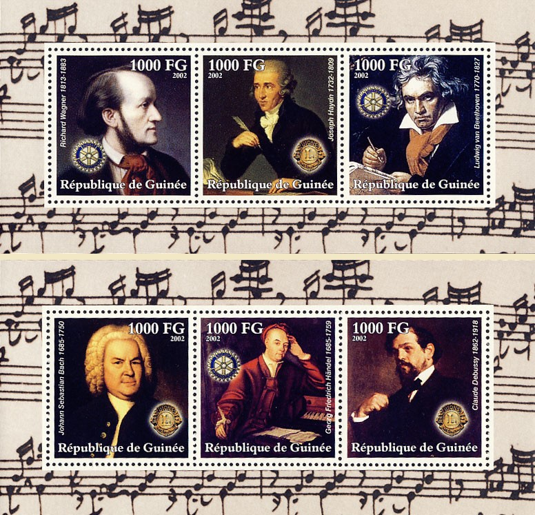 Composers - 2 Collective s/s (2) - Issue of Guinée postage stamps