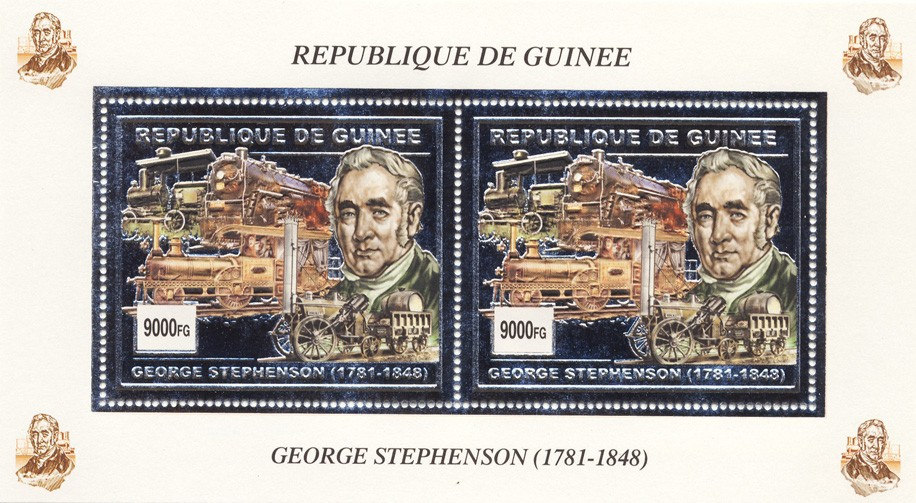 George Stphenson s/s (silver) - Issue of Guinée postage stamps