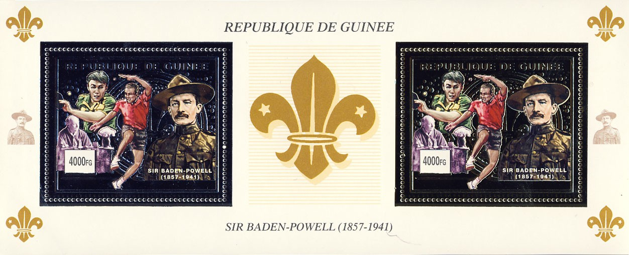 Scouts s/s - Gold & silver - Issue of Guinée postage stamps