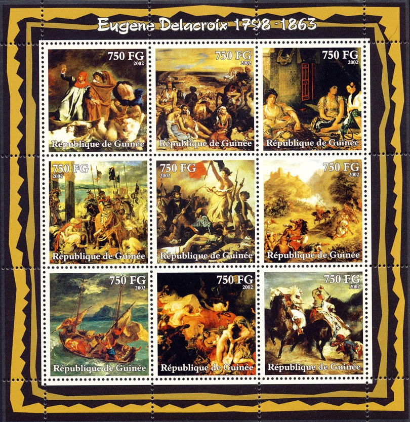Eugene Delacroix (1798-1863) - Issue of Guinée postage stamps