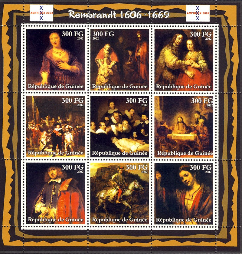 Rembrandt (1606-1669) - Issue of Guinée postage stamps
