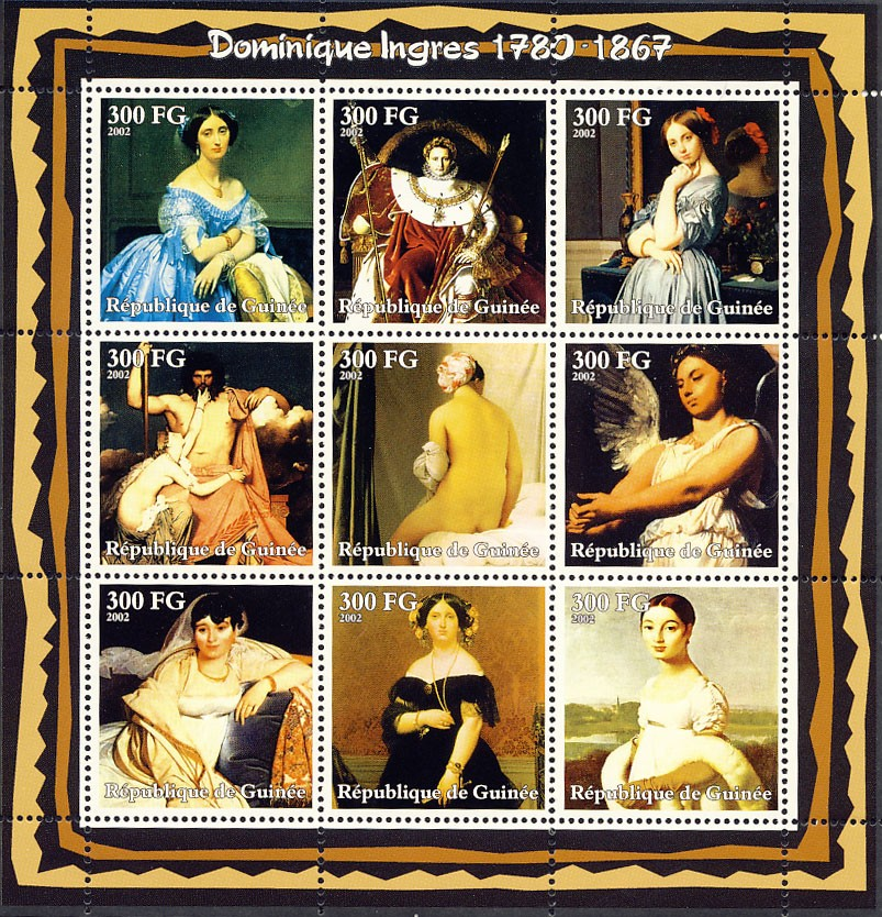 Jean Auguste Dominique Ingres (1780-1867) - Issue of Guinée postage stamps