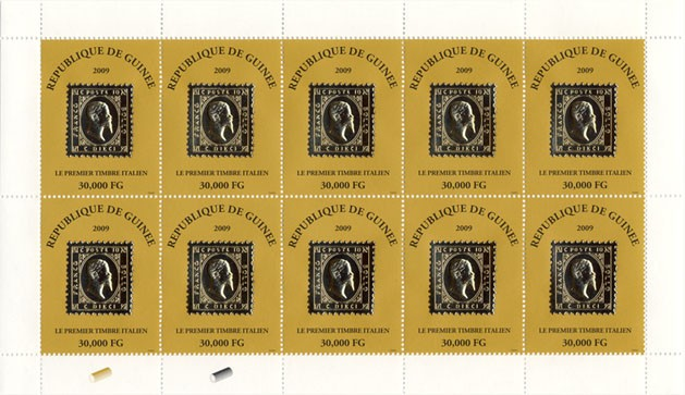 Le Premier Timbre Italien 10v - Issue of Guinée postage stamps