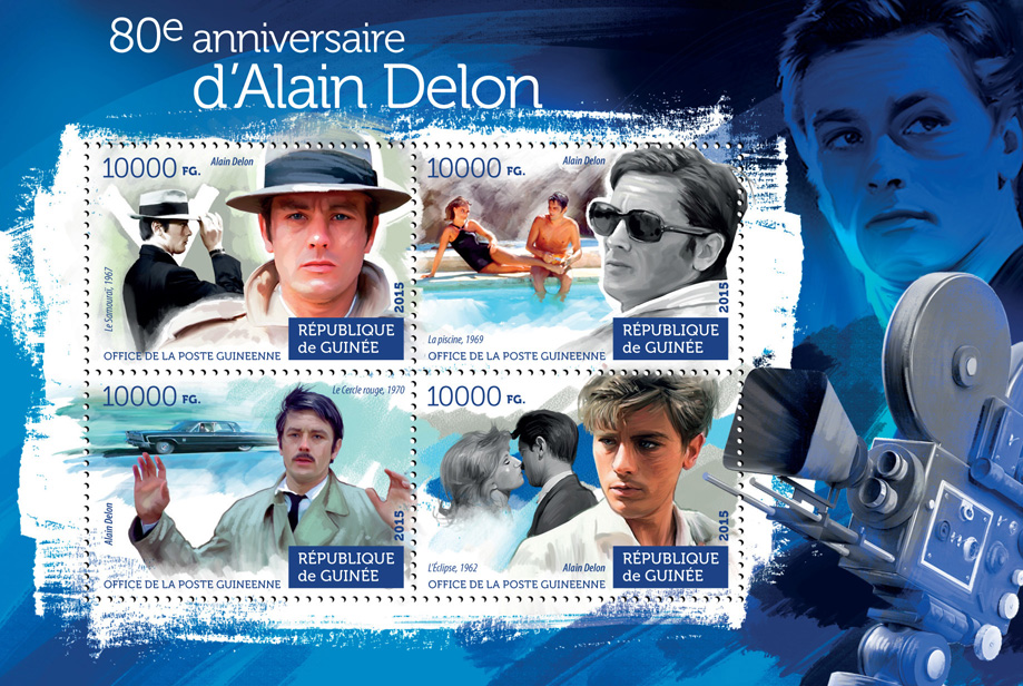 Alain Delon - Issue of Guinée postage stamps
