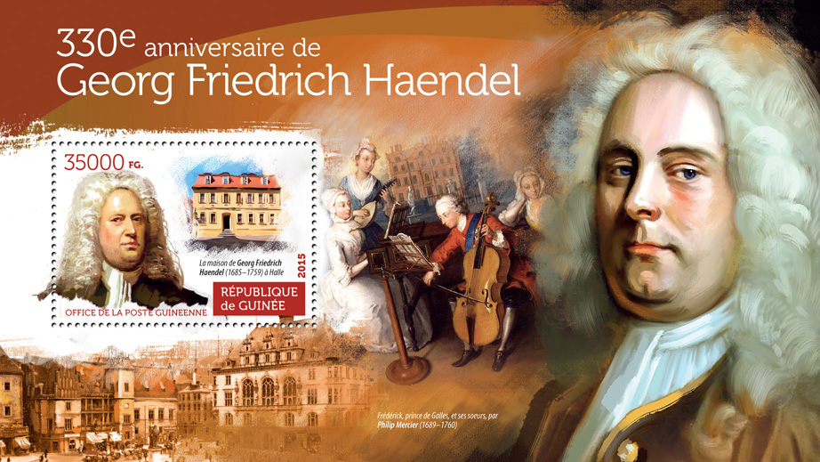 George Frederick Handel - Issue of Guinée postage stamps