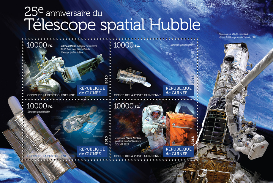 Hubble space telescope - Issue of Guinée postage stamps