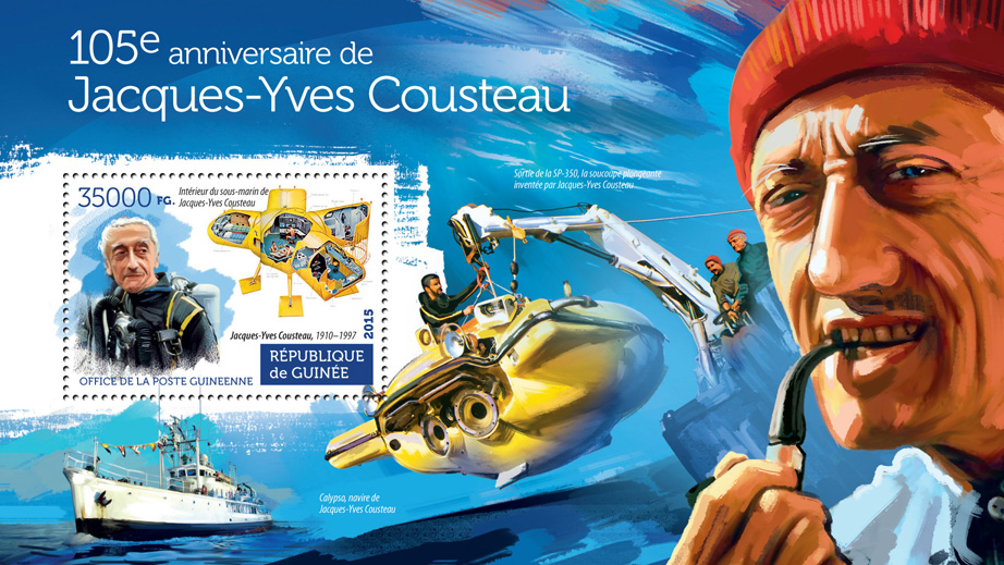Jacques-Yves Cousteau - Issue of Guinée postage stamps