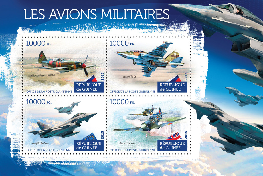Military aircraft - Issue of Guinée postage stamps