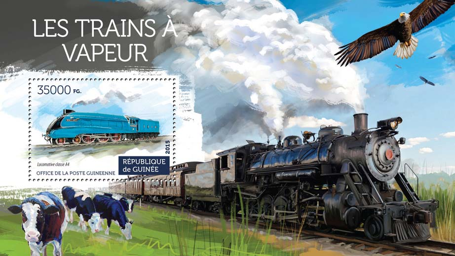 Steam trains - Issue of Guinée postage stamps