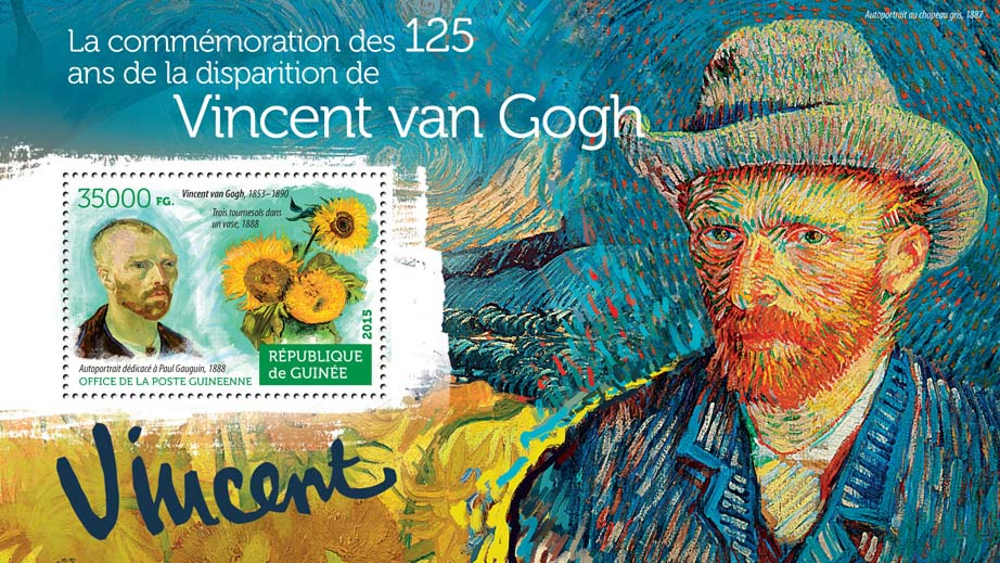 Vincent van Gogh - Issue of Guinée postage stamps