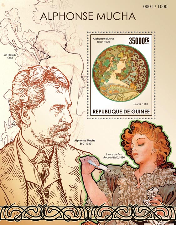 Alphonse Mucha - Issue of Guinée postage stamps