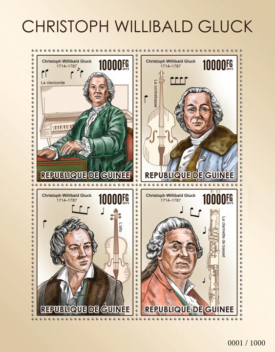 Christoph Willibald Gluck - Issue of Guinée postage stamps