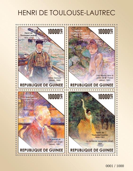 Henri de Toulouse-Lautrec - Issue of Guinée postage stamps