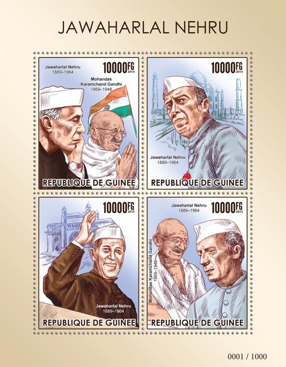 Jawaharlal Nehru - Issue of Guinée postage stamps