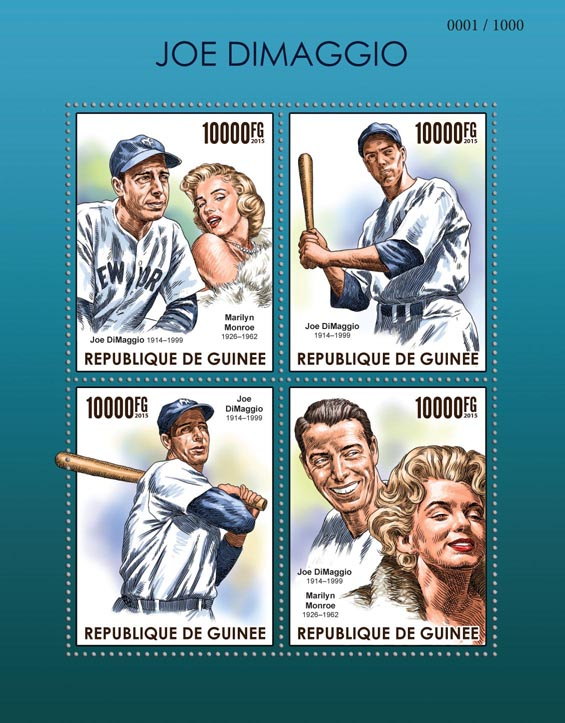 Joe DiMaggio - Issue of Guinée postage stamps