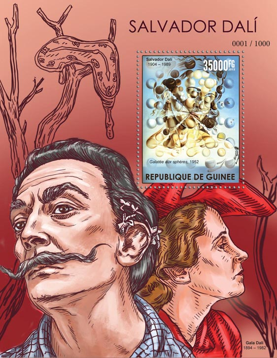 Salvador Dali - Issue of Guinée postage stamps