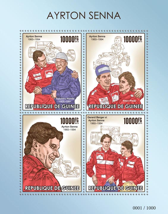 Ayrton Senna - Issue of Guinée postage stamps