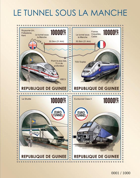 The Channel Tunnel - Issue of Guinée postage stamps
