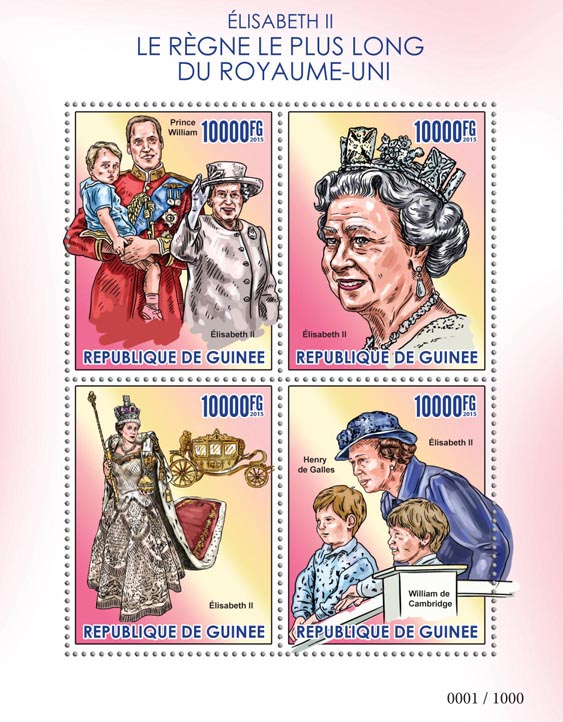 Elizabeth II - Issue of Guinée postage stamps