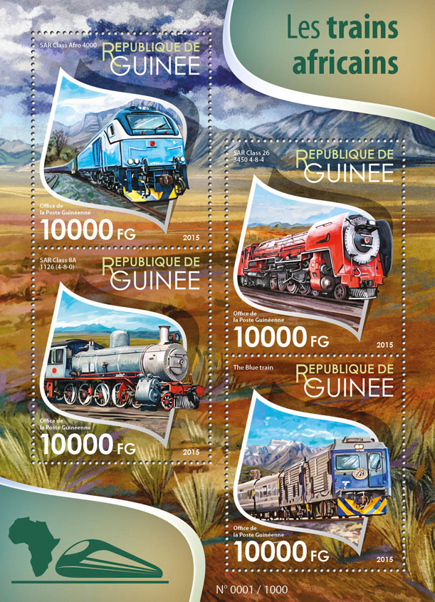 African trains - Issue of Guinée postage stamps