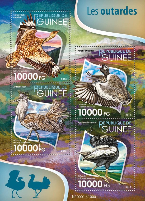 Bustards - Issue of Guinée postage stamps