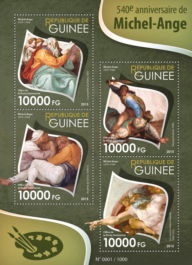 Michelangelo - Issue of Guinée postage stamps
