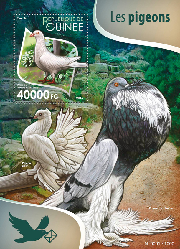 Pigeons - Issue of Guinée postage stamps