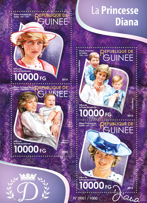 Diana - Issue of Guinée postage stamps