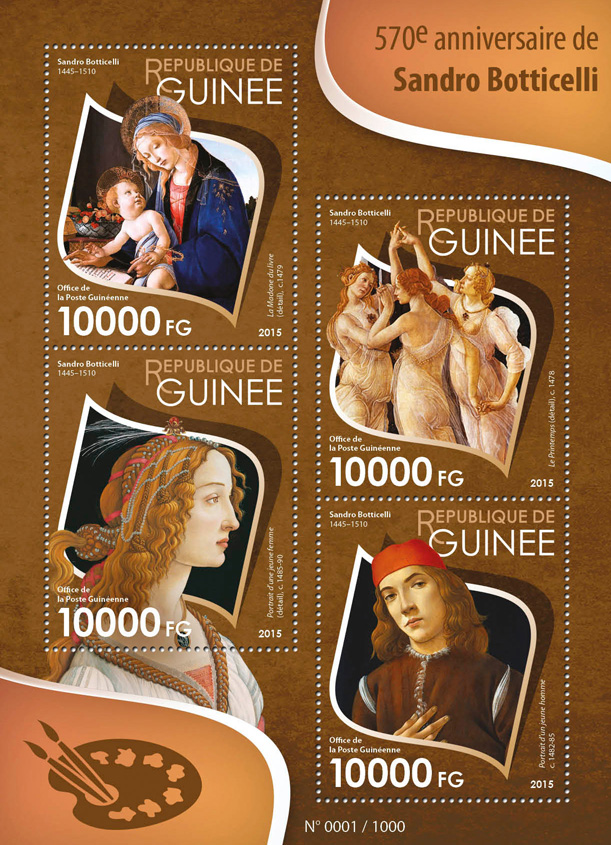 Sandro Botticelli - Issue of Guinée postage stamps
