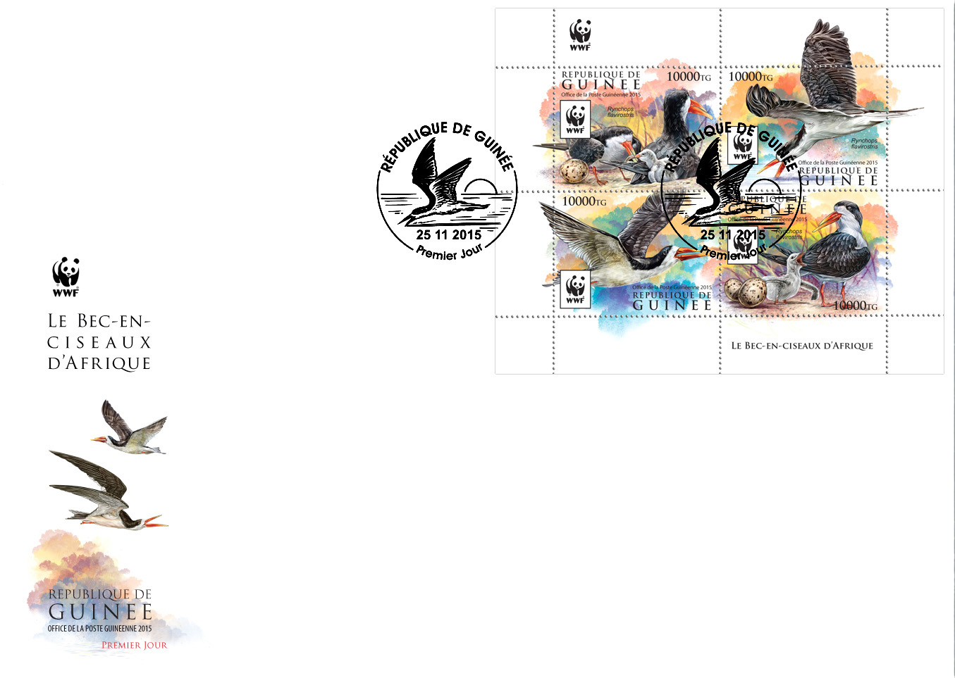 WWF – Skimmer (FDC) - Issue of Guinée postage stamps