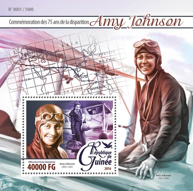 Amy Johnson - Issue of Guinée postage stamps