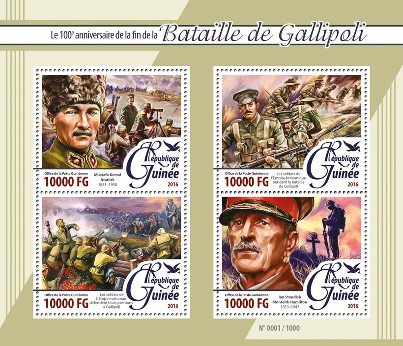 Battle of Gallipoli - Issue of Guinée postage stamps