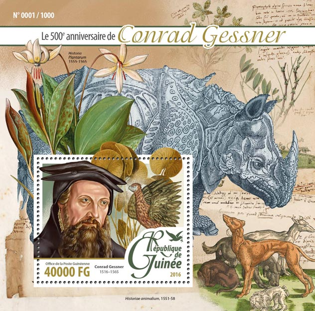 Conrad Gessner - Issue of Guinée postage stamps