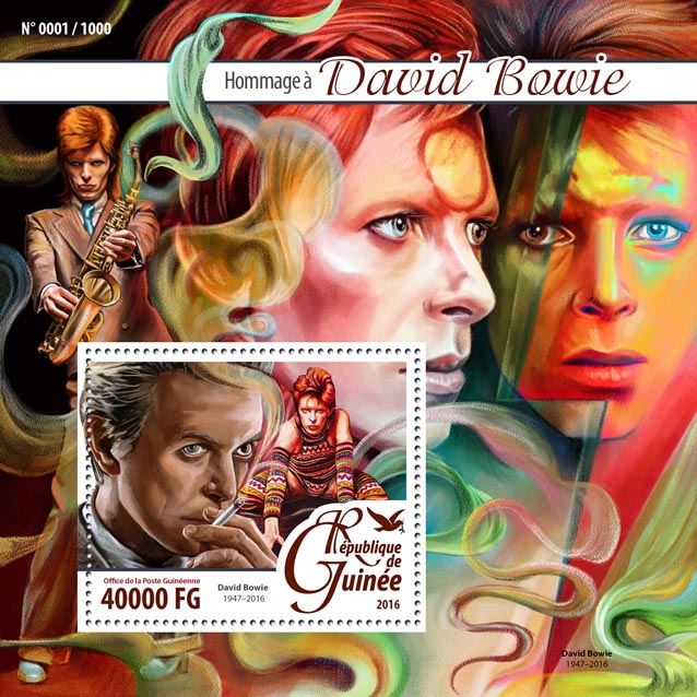 David Bowie - Issue of Guinée postage stamps
