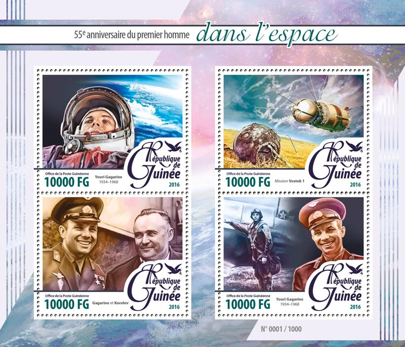 Space - Issue of Guinée postage stamps