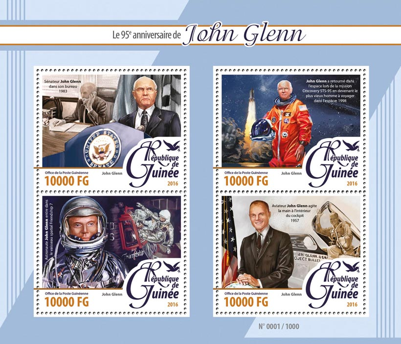 John Glenn - Issue of Guinée postage stamps