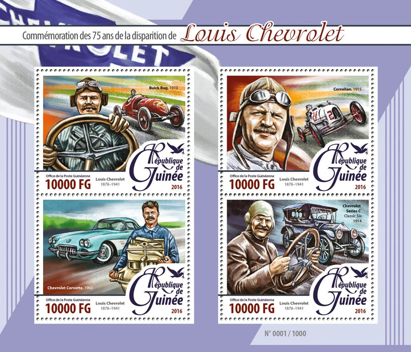 Louis Chevrolet - Issue of Guinée postage stamps