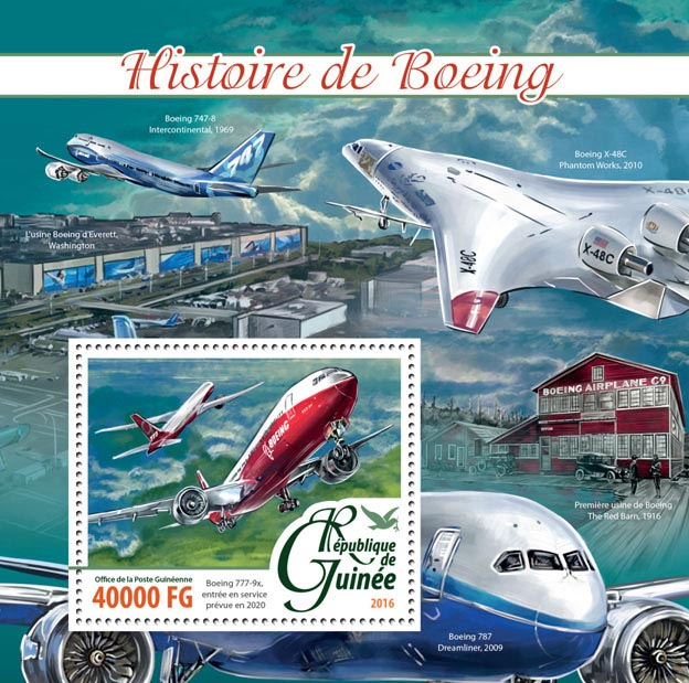 Boeing history - Issue of Guinée postage stamps