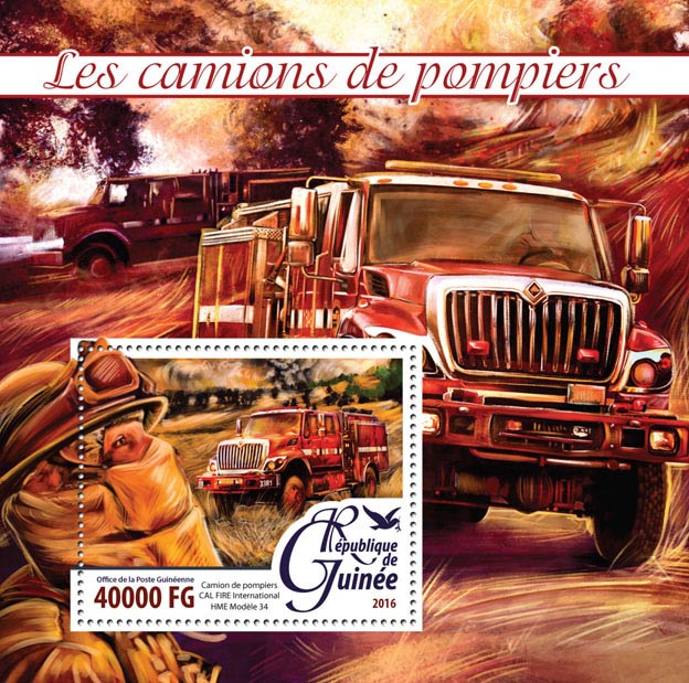 Fire trucks - Issue of Guinée postage stamps