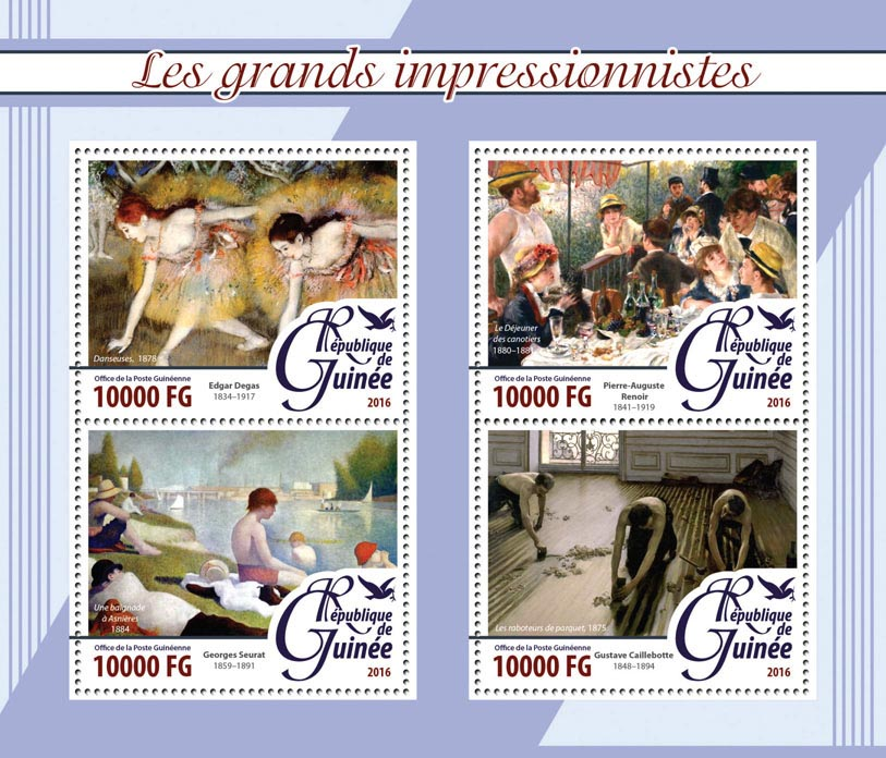 Impressionists - Issue of Guinée postage stamps