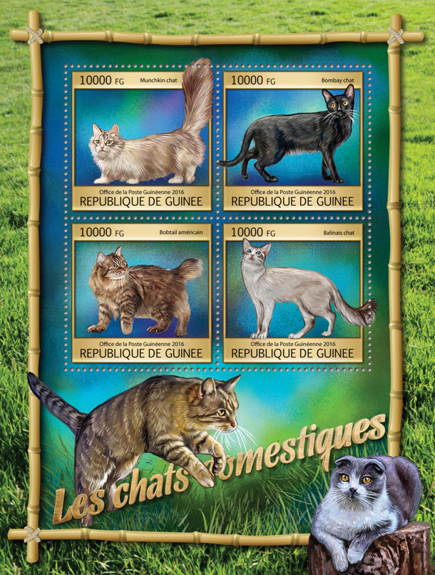 Domestic cats - Issue of Guinée postage stamps