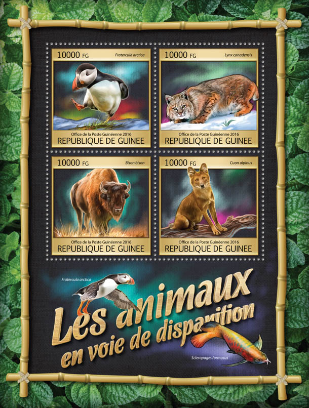 Endangered animals - Issue of Guinée postage stamps