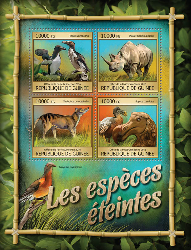 Extinct animals - Issue of Guinée postage stamps