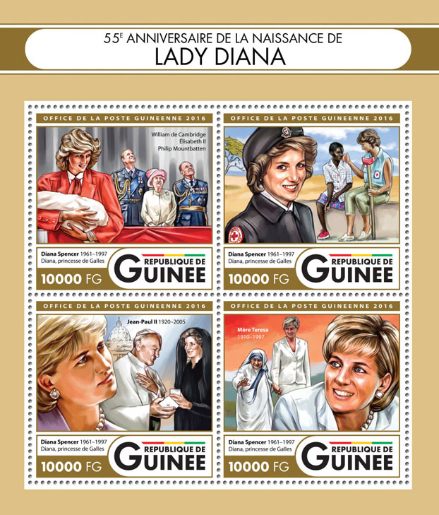 Lady Diana - Issue of Guinée postage stamps