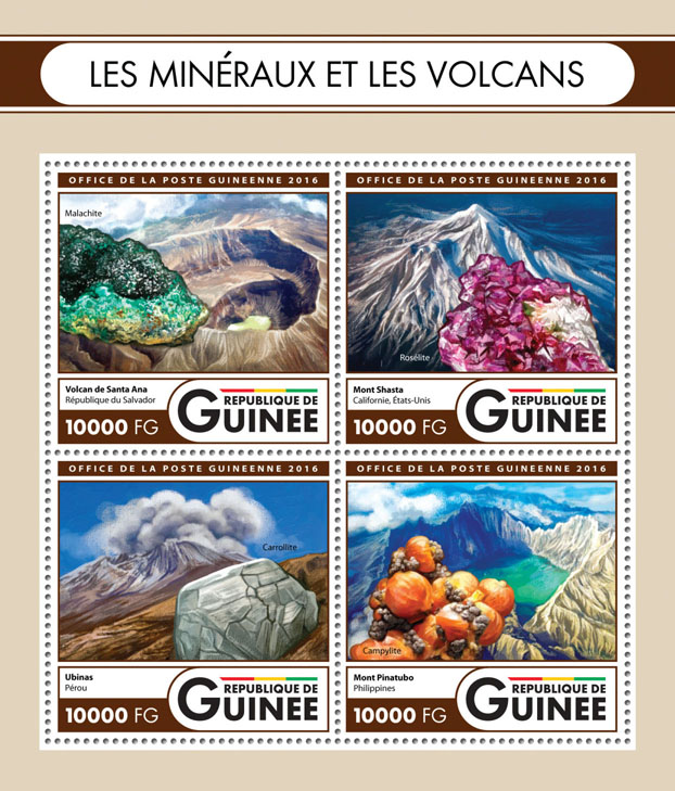 Minerals and volcanoes - Issue of Guinée postage stamps
