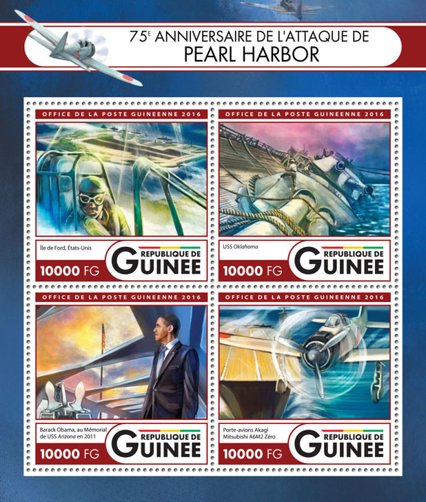 Pearl Harbor - Issue of Guinée postage stamps