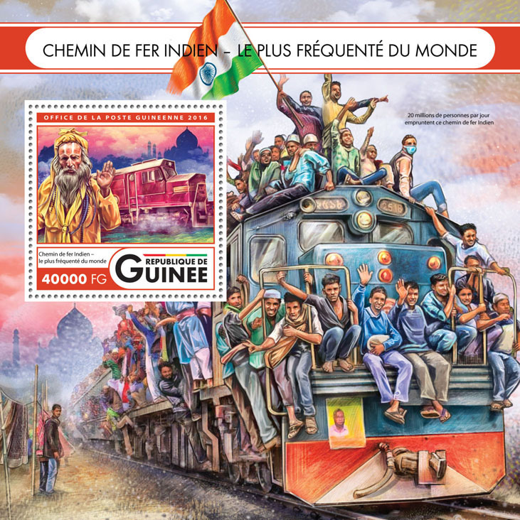 Indian Railway - Issue of Guinée postage stamps