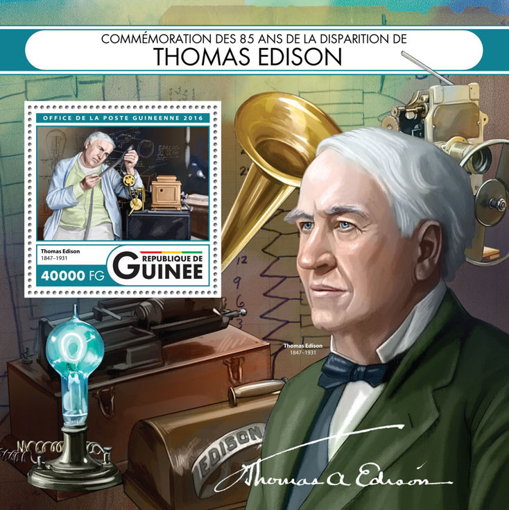 Thomas Edison - Issue of Guinée postage stamps