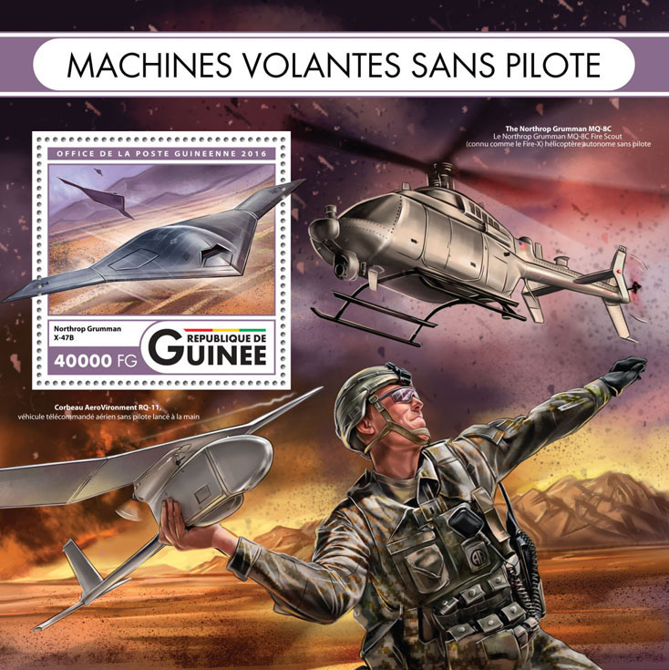 Flying machines - Issue of Guinée postage stamps
